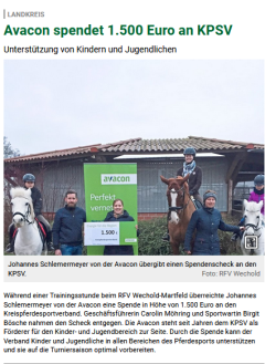Avacon Spende KPSV Nienburg©Die Harke